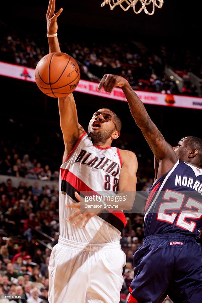 Anthony Morrow #22 of the Atlanta Hawks blocks a layup attempt by Nicolas Batum #88 of the Portland Trail Blazers on November 12, 2012 at the Rose Garden Arena in Portland, Oregon.