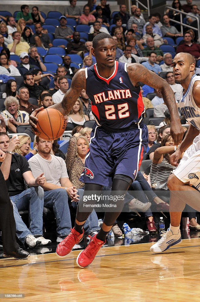 Anthony Morrow #22 of the Atlanta Hawks drives to the basket against the Orlando Magic during the game on December 12, 2012 at Amway Center in Orlando, Florida.