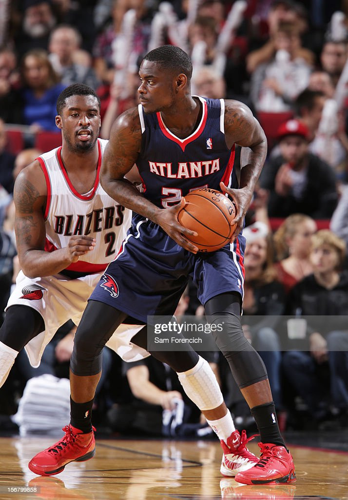 Anthony Morrow #22 of the Atlanta Hawks protects the ball from Wesley Matthews #2 of the Portland Trail Blazers on November 12, 2012 at the Rose Garden Arena in Portland, Oregon.