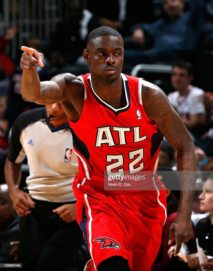 Anthony Morrow #22 of the Atlanta Hawks reacts after a three-point basket against the Miami Heat at Philips Arena on November 9, 2012 in Atlanta, Georgia.