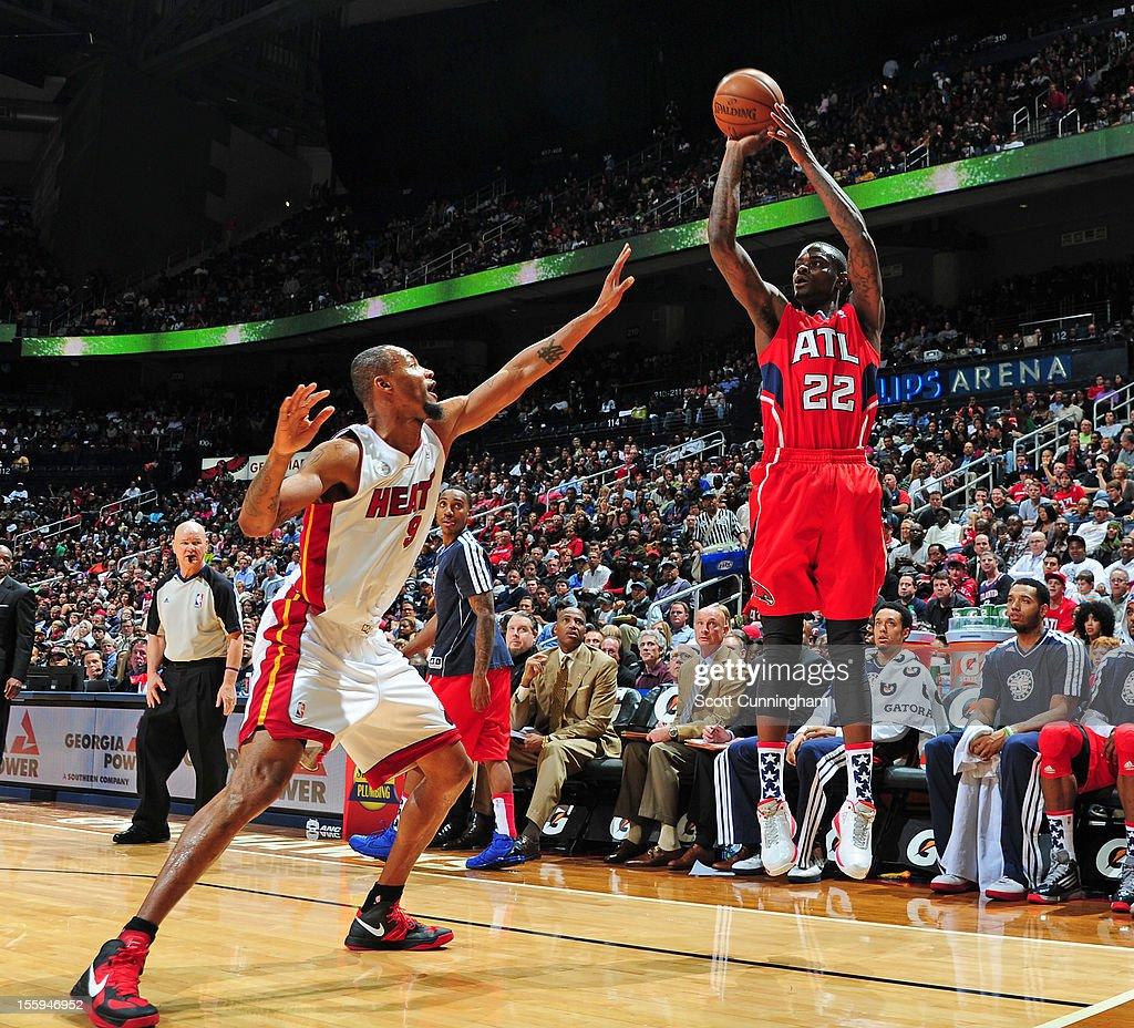 Anthony Morrow #22 of the Atlanta Hawks shoots against Rashard Lewis #9 of the Miami Heat at Philips Arena on November 9, 2012 in Atlanta, Georgia.