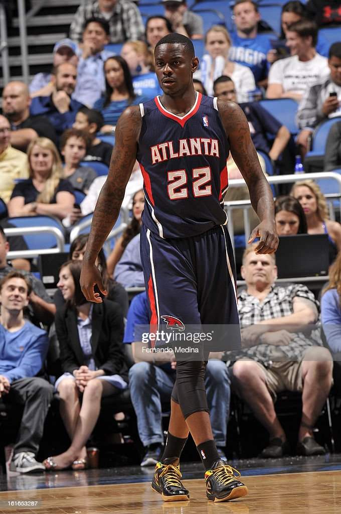 Anthony Morrow #22 of the Atlanta Hawks walks back after a play against the Orlando Magic during the game on February 13, 2013 at Amway Center in Orlando, Florida.