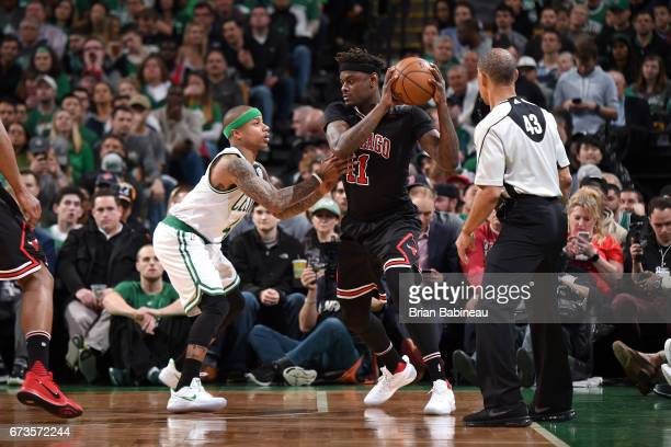 Anthony Morrow of the Chicago Bulls handles the ball against the Boston Celtics during Game Five of the Eastern Conference Quarterfinals of the 2017...