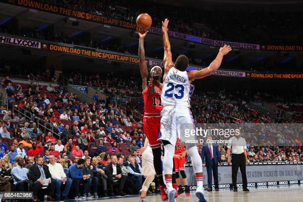Anthony Morrow of the Chicago Bulls shoots the ball against the Philadelphia 76ers at Wells Fargo Center on April 6 2017 in Philadelphia Pennsylvania...