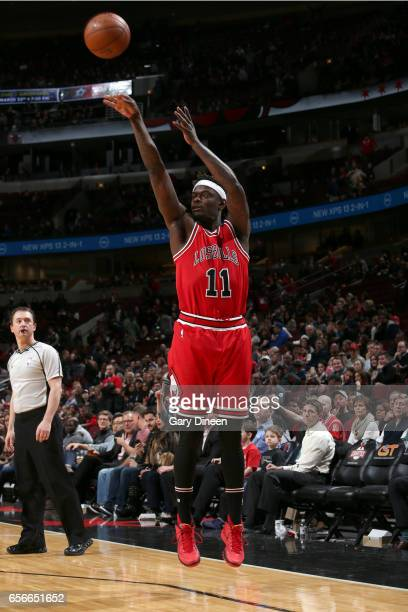 Anthony Morrow of the Chicago Bulls shoots the ball against the Detroit Pistons on March 22 2017 at the United Center in Chicago Illinois NOTE TO...