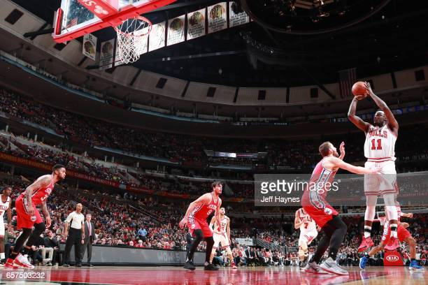 Anthony Morrow of the Chicago Bulls shoots the ball against the Philadelphia 76ers during the game on March 24 2017 at the United Center in Chicago...
