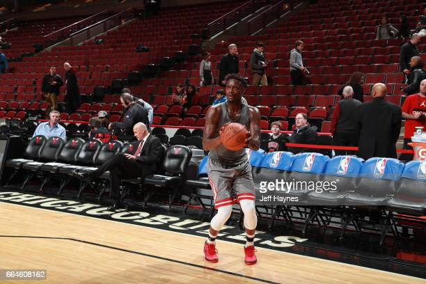 Anthony Morrow of the Chicago Bulls warms up before the game against the Cleveland Cavaliers on March 30 2017 at the United Center in Chicago...