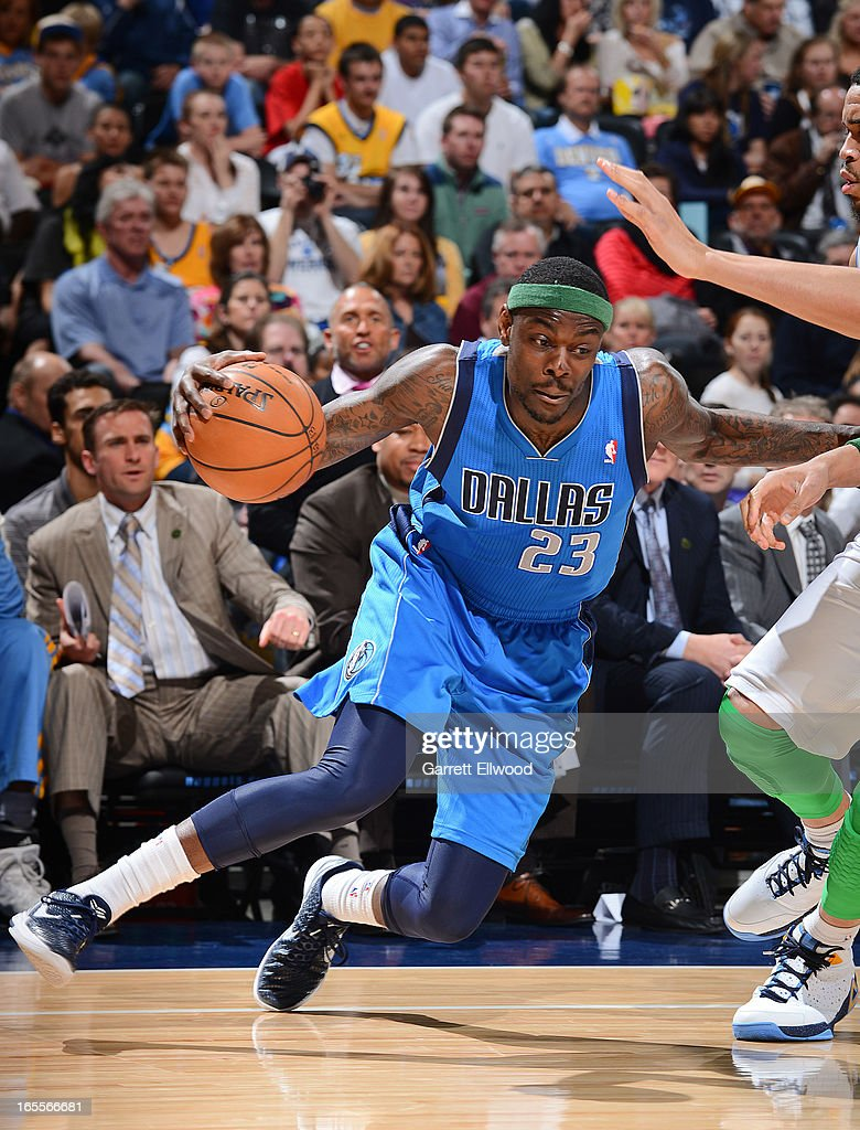 Anthony Morrow #23 of the Dallas Mavericks drives against the Denver Nuggets on April 4, 2013 at the Pepsi Center in Denver, Colorado.