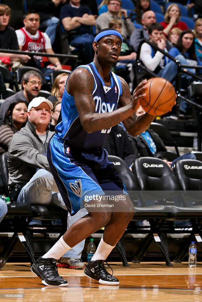 Anthony Morrow #23 of the Dallas Mavericks squares to shoot a three-pointer against the Minnesota Timberwolves on March 10, 2013 at Target Center in Minneapolis, Minnesota.