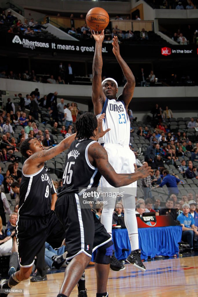 Anthony Morrow #23 of the Dallas Mavericks takes a shot against the Brooklyn Nets on March 20, 2013 at the American Airlines Center in Dallas, Texas.