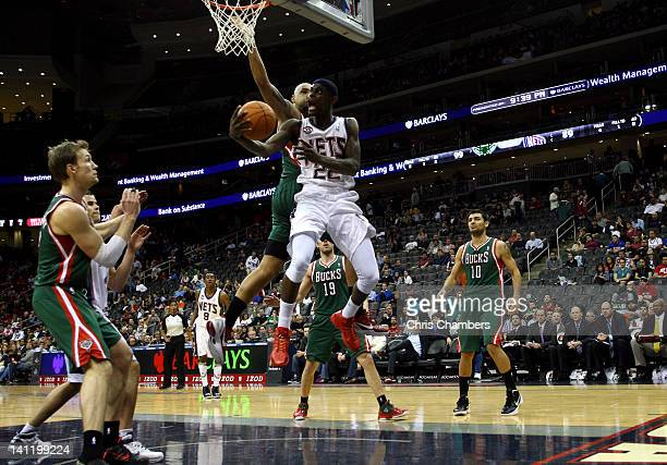 Anthony Morrow of the New Jersey Nets drives for a shot attempt in the second half against Drew Gooden of the Milwaukee Bucks at Prudential Center on...