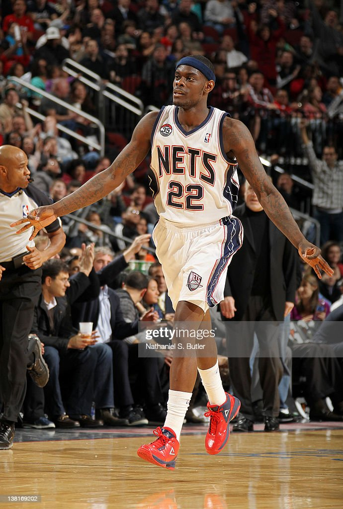 <a gi-track='captionPersonalityLinkClicked' href=/galleries/search?phrase=Anthony+Morrow&family=editorial&specificpeople=814354 ng-click='$event.stopPropagation()'>Anthony Morrow</a> #22 of the New Jersey Nets reacts after hitting a three point shot during the game against the Minnesota Timberwolves on February 3, 2012 at the Prudential Center in Newark, New Jersey.