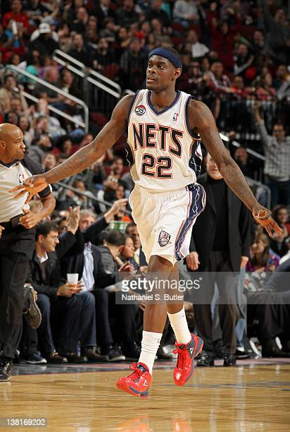 Anthony Morrow of the New Jersey Nets reacts after hitting a three point shot during the game against the Minnesota Timberwolves on February 3 2012...