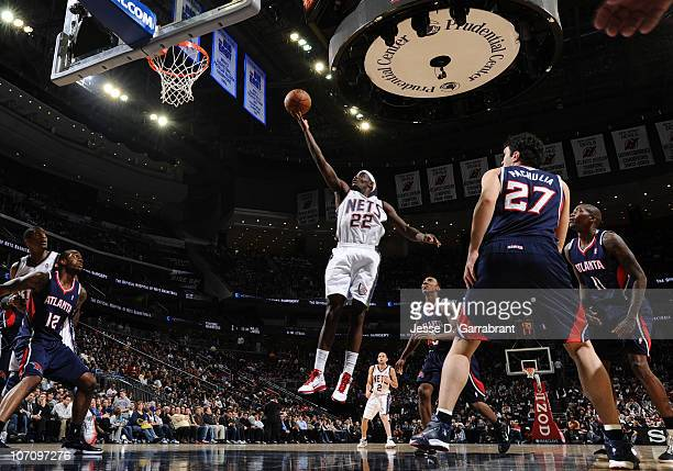 Anthony Morrow of the New Jersey Nets shoots against the Atlanta Hawks during the game on November 23 2010 at the Prudential Center in Newark New...