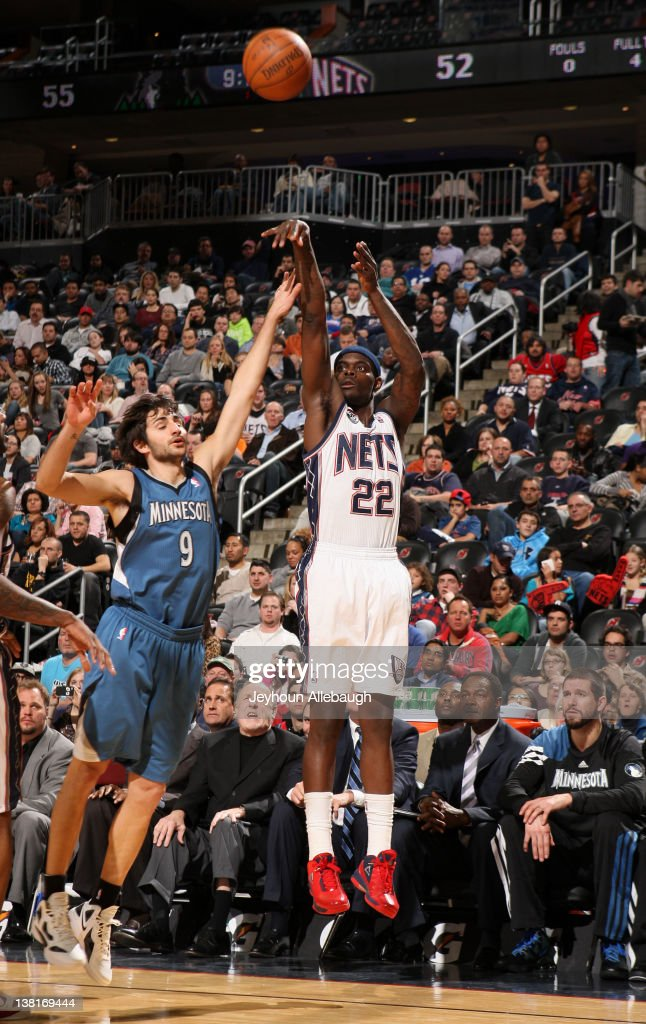 Anthony Morrow of the New Jersey Nets takes a jump shot against Ricky Rubio of the Minnesota Timberwolves during the game on February 3 2012 at the...