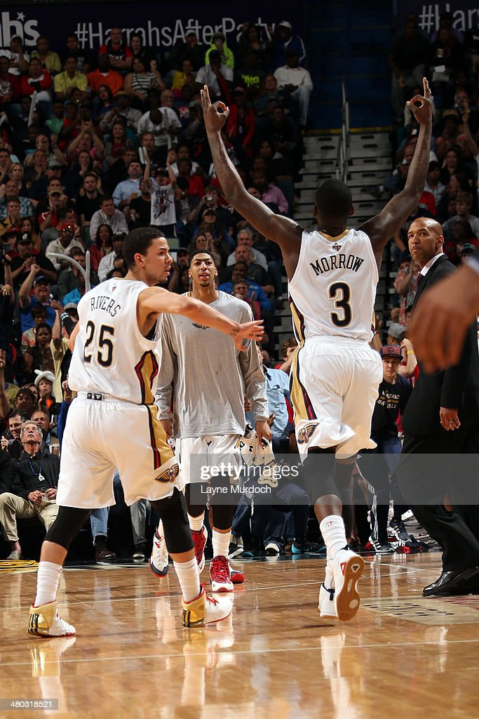 Anthony Morrow #3 of the New Orleans Pelicans celebrates against the Miami Heat during an NBA game on March 22, 2014 at the Smoothie King Center in New Orleans, Louisiana.