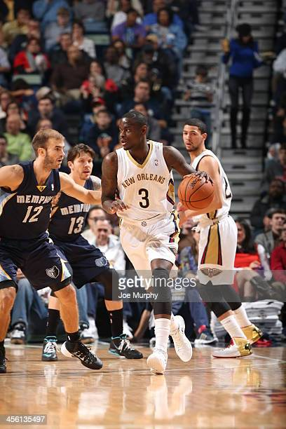 Anthony Morrow of the New Orleans Pelicans controls the ball against the Memphis Grizzlies on December 13 2013 at New Orleans Arena in New Orleans...