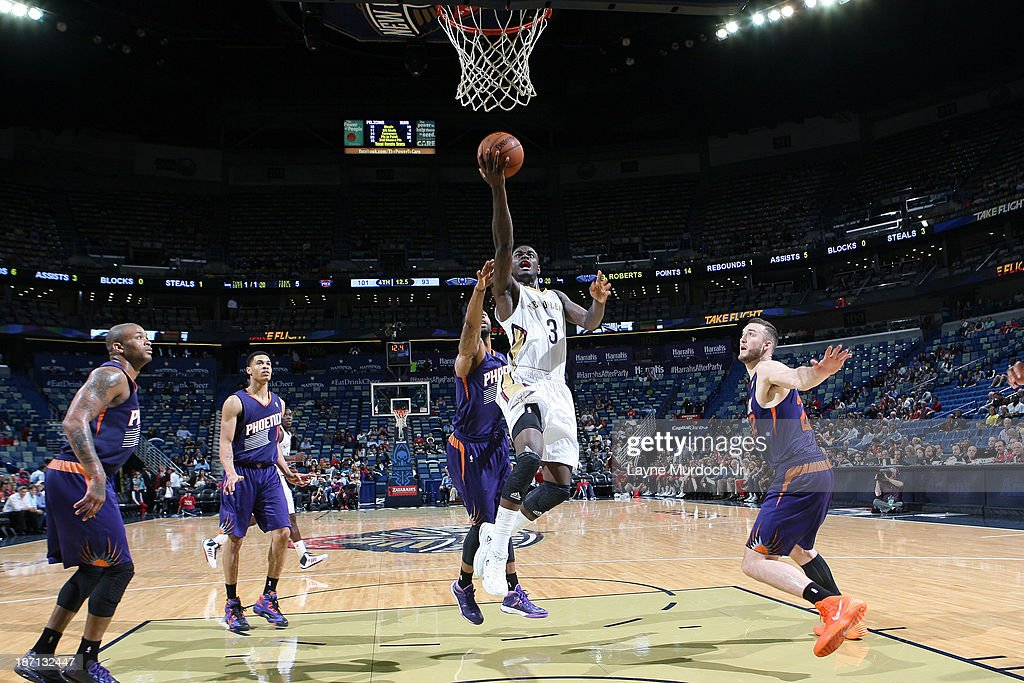 Anthony Morrow #3 of the New Orleans Pelicans drives to the basket against the Phoenix Suns on November 5, 2013 at the New Orleans Arena in New Orleans, Louisiana.