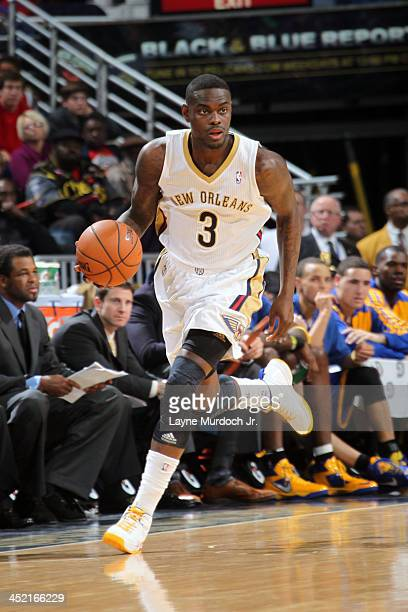 Anthony Morrow of the New Orleans Pelicans handles the ball against the Golden State Warriors on November 26 2013 at the New Orleans Arena in New...