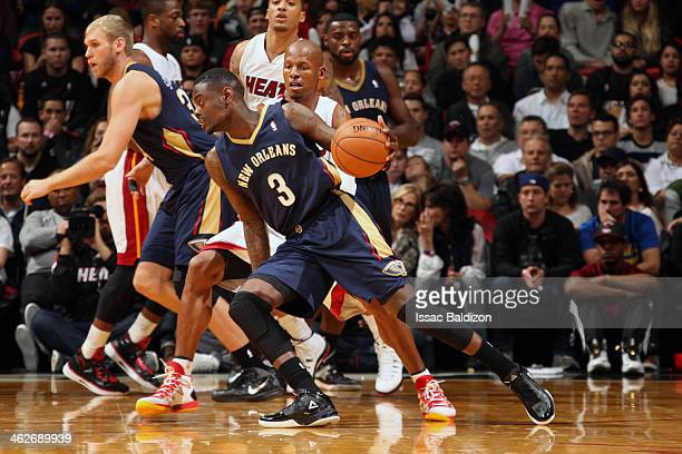 Anthony Morrow of the New Orleans Pelicans handling the ball during a game against the Miami Heat at the American Airlines Arena in Miami Florida on...