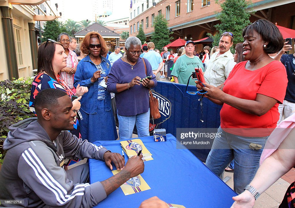 Anthony Morrow of the New Orleans Pelicans participates in a Pep Rally with fans on October 28, 2013 at the Manning's Restaurant in New Orleans, Louisiana.