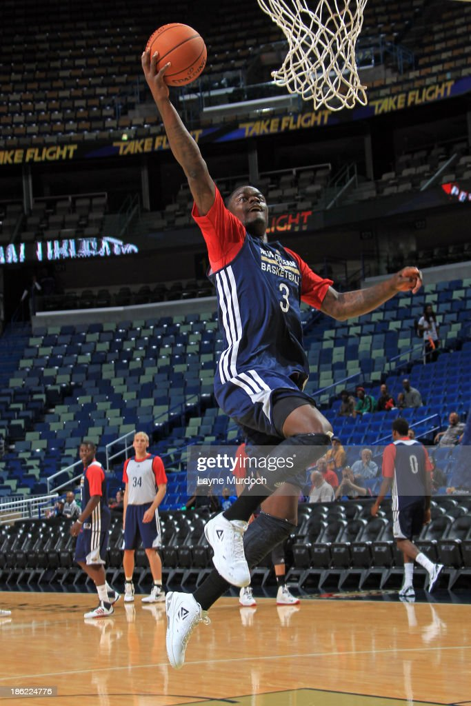 Anthony Morrow #3 of the New Orleans Pelicans participates in an open scrimmage on October 25, 2013 at the New Orleans Arena in New Orleans, Louisiana.