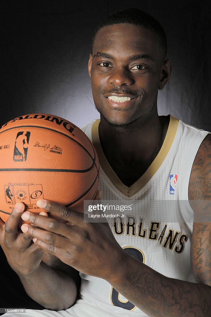 Anthony Morrow #3 of The New Orleans Pelicans pose for photos during NBA Media Day on September 30, 2013 at the New Orleans Pelicans practice facility in Metairie, Louisiana.