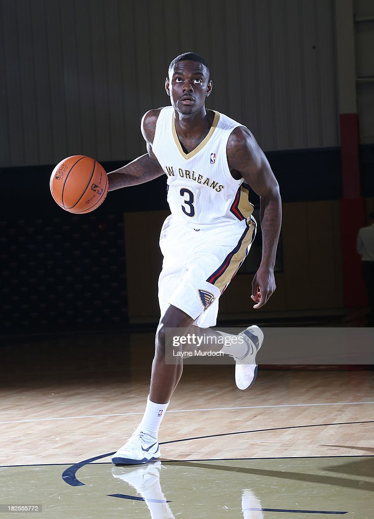 Anthony Morrow #3 of The New Orleans Pelicans poses for photos during NBA Media Day on September 30, 2013 at the New Orleans Pelicans practice facility in Metairie, Louisiana.
