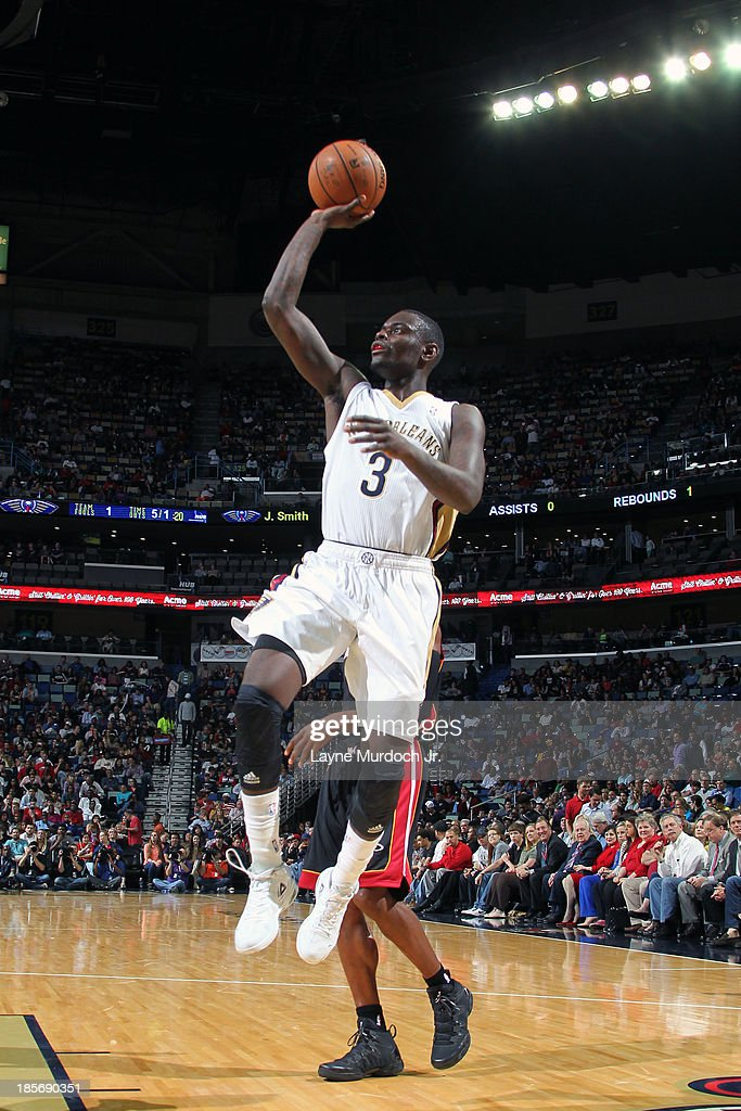 Anthony Morrow #3 of the New Orleans Pelicans puts up the shot against the Miami Heat during an NBA preseason game on October 23,2013 at the New Orleans Arena in New Orleans, Louisiana.