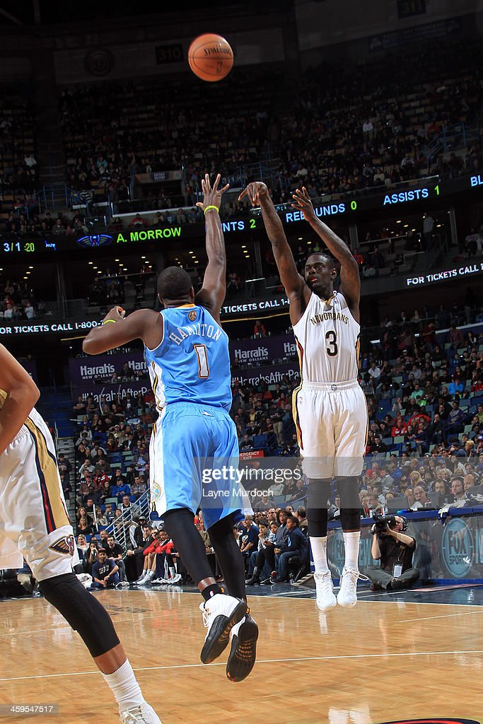 <a gi-track='captionPersonalityLinkClicked' href=/galleries/search?phrase=Anthony+Morrow&family=editorial&specificpeople=814354 ng-click='$event.stopPropagation()'>Anthony Morrow</a> #3 of the New Orleans Pelicans shoots against the Denver Nuggets on December 27, 2013 at the New Orleans Arena in New Orleans, Louisiana.