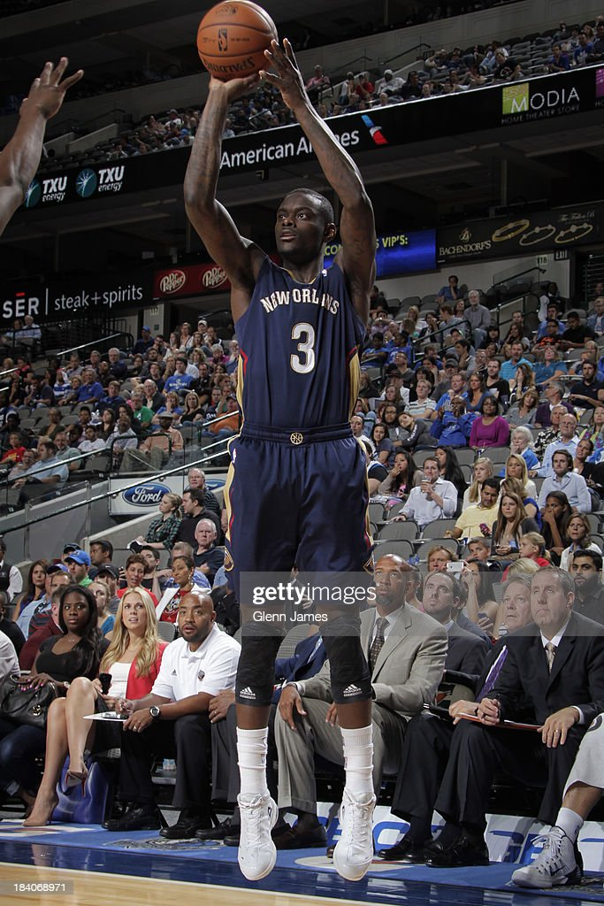 Anthony Morrow #3 of the New Orleans Pelicans shoots the ball against the Dallas Mavericks on October 7, 2013 at the American Airlines Center in Dallas, Texas.