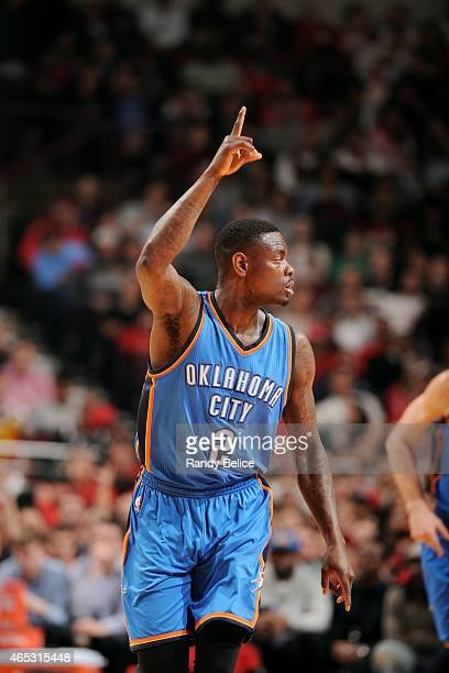 Anthony Morrow of the Oklahoma City Thunder celebrates during a game against the Chicago Bulls on March 5 2015 at the United Center in Chicago...