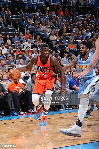Anthony Morrow of the Oklahoma City Thunder drives to the basket against the Denver Nuggets during the game on November 1 2015 at Chesapeake Energy...