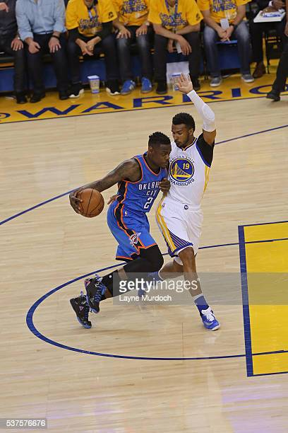 Anthony Morrow of the Oklahoma City Thunder drives to the basket against the Golden State Warriors in Game Five of the Western Conference Finals...
