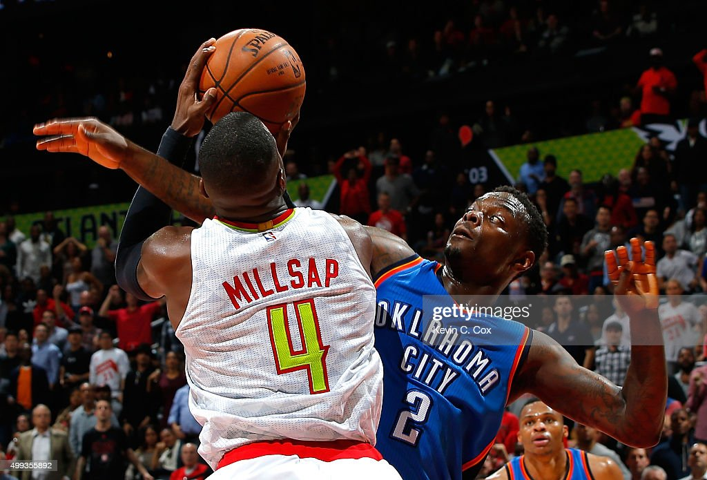 <a gi-track='captionPersonalityLinkClicked' href=/galleries/search?phrase=Anthony+Morrow&family=editorial&specificpeople=814354 ng-click='$event.stopPropagation()'>Anthony Morrow</a> #2 of the Oklahoma City Thunder fouls <a gi-track='captionPersonalityLinkClicked' href=/galleries/search?phrase=Paul+Millsap&family=editorial&specificpeople=880017 ng-click='$event.stopPropagation()'>Paul Millsap</a> #4 of the Atlanta Hawks at Philips Arena on November 30, 2015 in Atlanta, Georgia. NOTE TO USER User expressly acknowledges and agrees that, by downloading and or using this photograph, user is consenting to the terms and conditions of the Getty Images License Agreement.