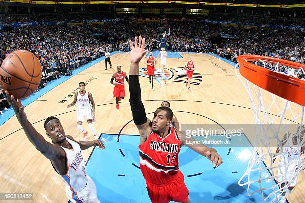 Anthony Morrow of the Oklahoma City Thunder goes up for a shot against the Portland Trail Blazers on December 23 2014 at Chesapeake Energy Arena in...