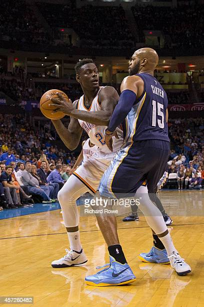 Anthony Morrow of the Oklahoma City Thunder handles the ball against Vince Carter of the Memphis Grizzlies at the Chesapeak Energy Arena on October...