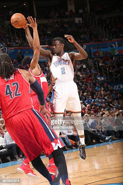 Anthony Morrow of the Oklahoma City Thunder passes the ball the ball during the game against the Washington Wizards on February 1 2016 at Chesapeake...