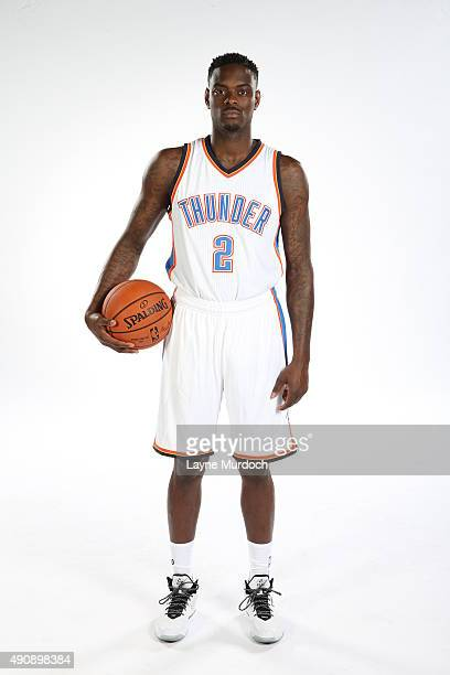 Anthony Morrow of the Oklahoma City Thunder poses for a portrait during 2015 NBA Media Day on September 28 2015 at the Thunder Events Center in...