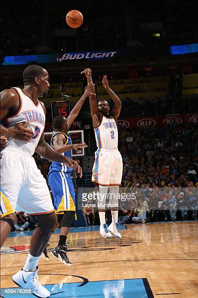 Anthony Morrow of the Oklahoma City Thunder shoots against the Golden State Warriors on November 23 2014 at the Chesapeake Energy Arena in Oklahoma...