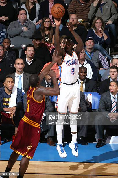 Anthony Morrow of the Oklahoma City Thunder shoots the ball against the Cleveland Cavaliers during an NBA game on December 11 2014 at the Chesapeake...
