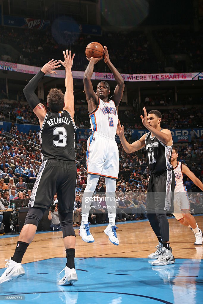 Anthony Morrow #2 of the Oklahoma City Thunder shoots the ball against the San Antonio Spurs on April 7, 2015 at Chesapeake Energy Arena in Oklahoma City, Oklahoma.