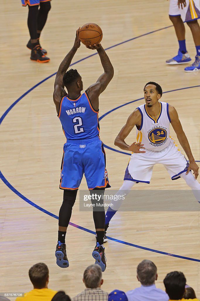 <a gi-track='captionPersonalityLinkClicked' href=/galleries/search?phrase=Anthony+Morrow&family=editorial&specificpeople=814354 ng-click='$event.stopPropagation()'>Anthony Morrow</a> #2 of the Oklahoma City Thunder shoots the ball against the Golden State Warriors in Game Five of the Western Conference Finals during the 2016 NBA Playoffs on May 26, 2016 at ORACLE Arena in Oakland, California.