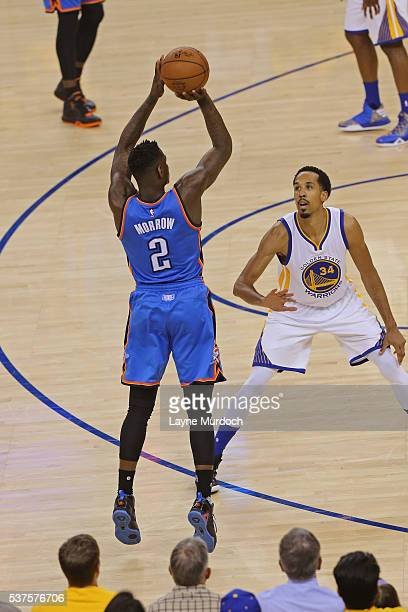 Anthony Morrow of the Oklahoma City Thunder shoots the ball against the Golden State Warriors in Game Five of the Western Conference Finals during...