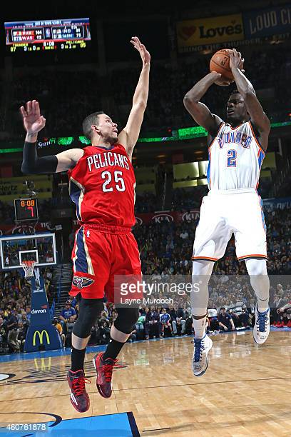 Anthony Morrow of the Oklahoma City Thunder takes a shot against the New Orleans Pelicans on December 21 2014 at Chesapeake Energy Arena in Oklahoma...