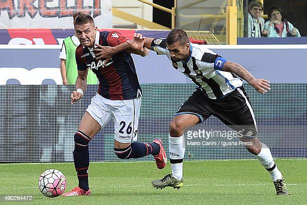 Anthony Mounier of Bologna FC in action during the Serie A match between Bologna FC and Udinese Calcio at Stadio Renato Dall'Ara on September 27 2015...