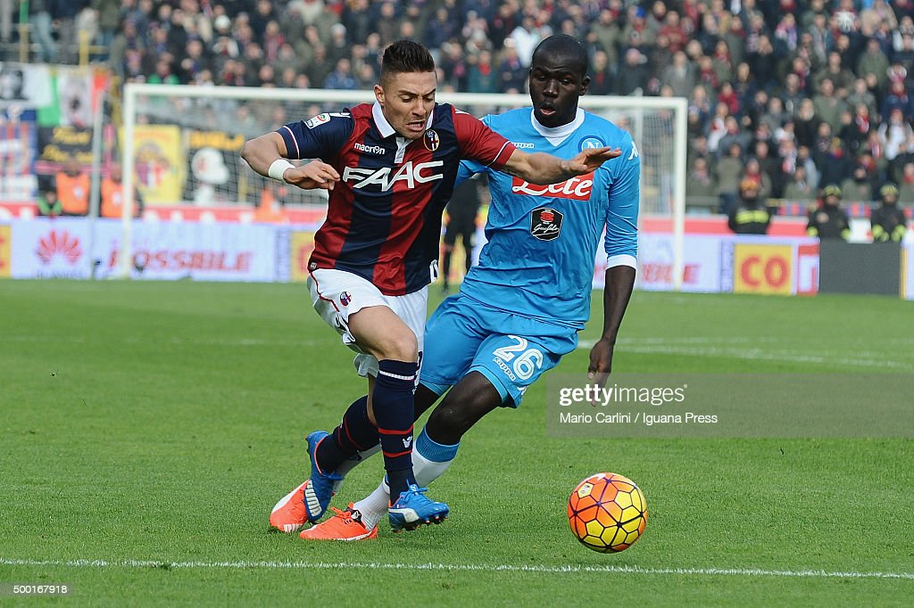 Anthony Mounier of Bologna FC in action during the Serie A match between Bologna FC and SSC Napoli at Stadio Renato Dall'Ara on December 6 2015 in...