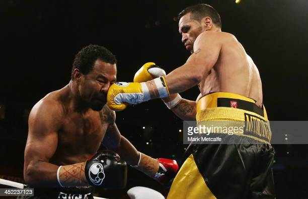 Anthony Mundine lands a left on Shane Mosley during the WBA International super welterweight title bout between Anthony Mundine and Shane Mosley at...