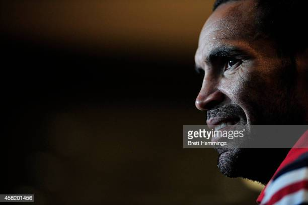 Anthony Mundine looks on during a press conference at The Kirribilli Club on November 1 2014 in Sydney Australia Mundine will fight Sergey Rabchenko...