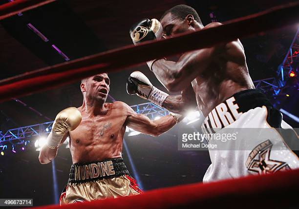 Anthony Mundine of Australia and Charles Hatley of the USA contest at The Melbourne Convention and Exhibition Centre on November 11 2015 in Melbourne...